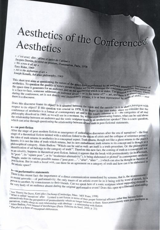 Aesthetics of the conference of aesthetics